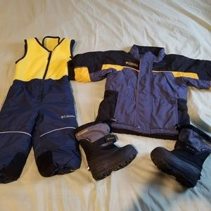 Lot Columbia toddler boy winter coat snowsuit boot